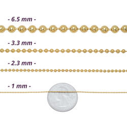 1mm-6mm 14k Yellow Gold Plated Ball Military Chain Necklace or Bracelet