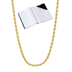 2.4mm 14k Yellow Gold Plated Twisted Rope Chain Necklace