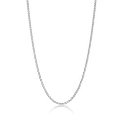 2.5mm Solid .925 Sterling Silver Braided Wheat Chain Necklace