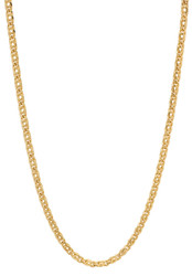2.8mm 24k Yellow Gold Plated Flat Mariner Chain Necklace