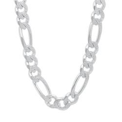 Men's 10.7mm .925 Sterling Silver Diamond-Cut Flat Figaro Chain Necklace