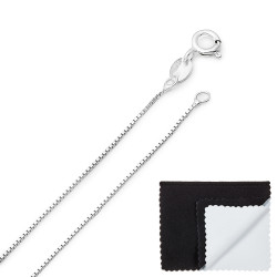 0.7mm Solid .925 Sterling Silver Square Box Chain Necklace