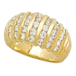 10mm Polished Gold Plated Vertical Rows of Channel Set CZs Ring + Microfiber