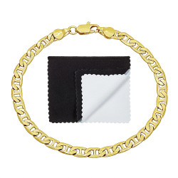 5mm 14k Yellow Gold Plated Flat Mariner Chain Bracelet