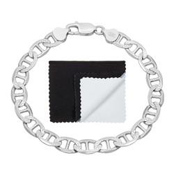 6.3mm .925 Sterling Silver Diamond-Cut Flat Mariner Chain Bracelet