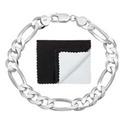 Men's 9.3mm Solid .925 Sterling Silver Flat Figaro Figaro Chain Link Bracelet