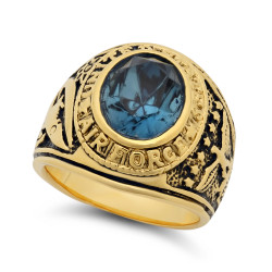 Large 15mm 14k Gold Plated Simulated Sapphire Blue CZ Military Ring + Microfiber