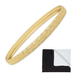 6mm Gold Plated Etched Starburst Pattern Bangle Bracelet + Microfiber Polishing Cloth