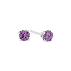 Round Cut Simulated Purple Amethyst CZ Sterling Silver Italian Crafted Stud Earrings + Polishing Cloth