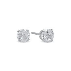 Sterling Silver Italian Crafted Round Pattern Of Simulated Diamond CZ Stud Earrings + Polishing Cloth