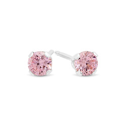 Round Cut Simulated Pink Tourmaline CZ Sterling Silver Italian Crafted Stud Earrings + Polishing Cloth