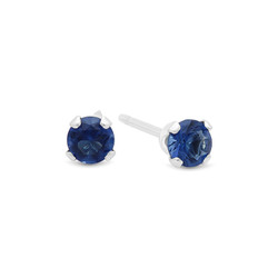 Round Cut Simulated Sapphire Blue CZ Sterling Silver Stud Earrings Made in Italy + Bonus Polishing Cloth