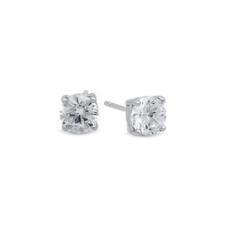 Rhodium Plated .925 Sterling Silver Basket Set Round Brilliant Cut Clear CZ Stud Earrings