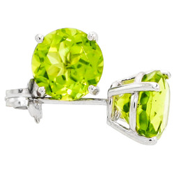 .925 Sterling Silver Peridot 4mm - 7mm Round Cut CZ Stud Rhodium Plated Earrings - Made in Italy