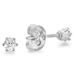 Round Brilliant Cut Clear Cubic Zirconia Stainless Steel Stud Earrings + Microfiber