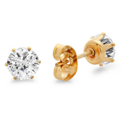 Round Brilliant Cut CZ 14k Gold Plated Stainless Steel Stud Earrings + Microfiber