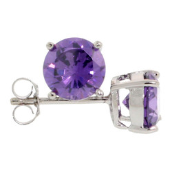 .925 Sterling Silver Lavender 4mm - 7mm Round Cut CZ Stud Rhodium Plated Earrings - Made in Italy