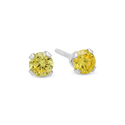 Round Cut Simulated Citrine Yellow CZ Sterling Silver Italian Crafted Stud Earrings + Cleaning Cloth