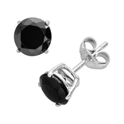 925 Sterling Silver Black Onyx CZ Studs, Round Cut CZs in Rhodium Plated Basket Setting - 4mm,5mm,6mm,7mm