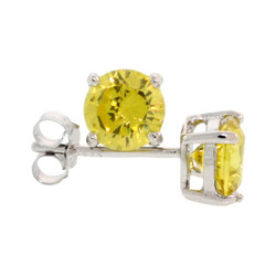.925 Sterling Silver Yellow 4mm - 7mm Round Cut CZ Stud Rhodium Plated Earrings - Made in Italy