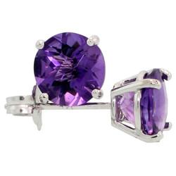 Rhodium Plated Silver Amethyst Purple (February) CZ Round Birthstone Stud Earrings + Gift Box