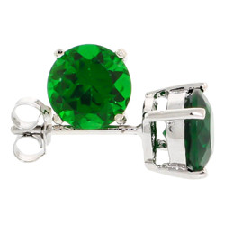 .925 Sterling Silver Emerald Green 4mm - 7mm Round Cut CZ Stud Rhodium Plated Earrings - Made in Italy