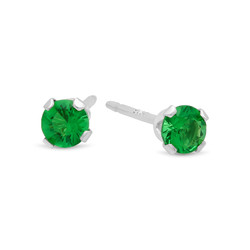 Brilliant Cut Simulated Emerald Green CZ Sterling Silver Italian Crafted Stud Earrings + Polishing Cloth