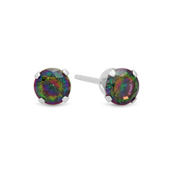 Solid .925 Sterling Silver Rainbow Topaz (June) Cubic Zirconia Round Birthstone Stud Earrings