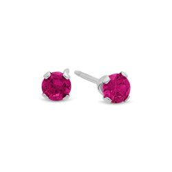 Round Simulated Rubellite Tourmaline CZ Sterling Silver Italian Crafted Stud Earrings + Polishing Cloth