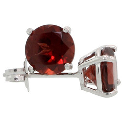 Rhodium Plated Silver Garnet Red (January) CZ Round Birthstone Stud Earrings + Gift Box