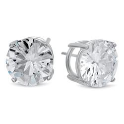 Rhodium Plated Silver Simulated Diamond CZ Round Brilliant Cut Birthstone Stud Earrings + Gift Box