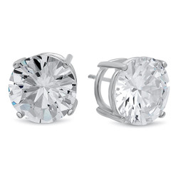 0.16 mils (4 microns) Rhodium Plated Silver Simulated Diamond CZ Round Brilliant Cut Birthstone Stud Earrings