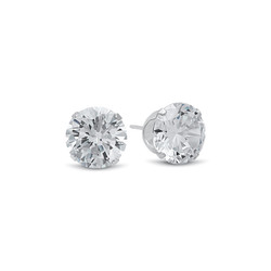 Solid .925 Sterling Silver Simulated Diamond White Cubic Zirconia Birthstone Stud Earrings