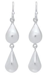 7.4mm Sterling Silver Nickel-Free Double Pear Shape TearDrop Dangling Earrings - Made in Italy