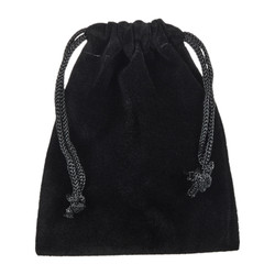 Black Velvet Cloth Jewelry Pouch / Drawstring Bag + Microfiber Polishing Cleaning Cloth