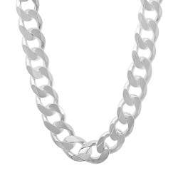 Men's 10.5mm Solid .925 Sterling Silver Beveled Curb Chain Necklace