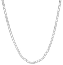 1.8mm Solid .925 Sterling Silver Flat Mariner Chain Necklace