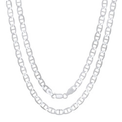 5.3mm Solid .925 Sterling Silver Flat Mariner Chain Necklace
