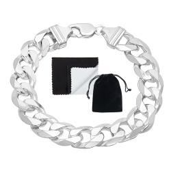 Men's 15.3mm Solid .925 Sterling Silver Flat Curb Chain Bracelet