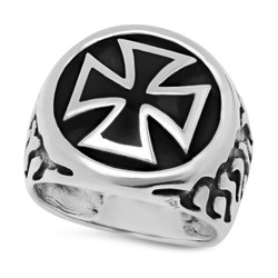Men's Oxidized Silver Silver Iron Cross Ring + Jewelry Cloth & Pouch