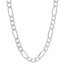 Men's 5.2mm .925 Sterling Silver Diamond-Cut Flat Figaro Chain Necklace + Gift Box