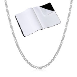 1.5mm Solid .925 Sterling Silver Square Box Chain Necklace