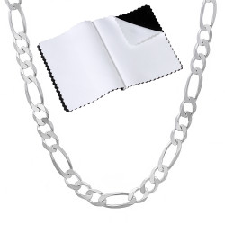4mm Solid .925 Sterling Silver Flat Figaro Chain Necklace + Gift Box