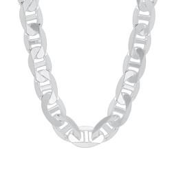 Men's 1mm-13mm Solid .925 Sterling Silver Flat Mariner Chain Necklace or Bracelet