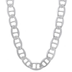 Men's 6.3mm .925 Sterling Silver Diamond-Cut Flat Mariner Chain Necklace + Gift Box