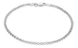 2.2mm Solid .925 Sterling Silver Round Rolo Chain Necklace + Gift Box