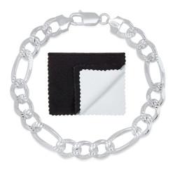 9.5mm .925 Sterling Silver Diamond-Cut Flat Figaro Chain Bracelet