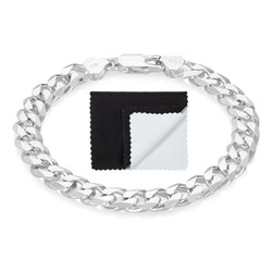 7.9mm Solid .925 Sterling Silver Beveled Curb Chain Bracelet + Gift Box