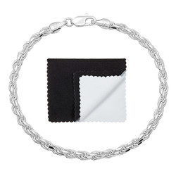 2mm-3mm .925 Sterling Silver Diamond-Cut Twisted Rope Chain Anklet