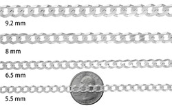 1mm-16mm Solid .925 Sterling Silver Flat Cuban Link Curb Chain Necklace or Bracelet